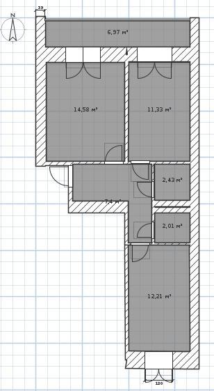 Вариант перепланировки двухкомнатной квартиры 53,75 кв.м. по предложению meladze