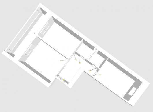 Вариант перепланировки двухкомнатной квартиры 53,75 кв.м. по предложению meladze, объём