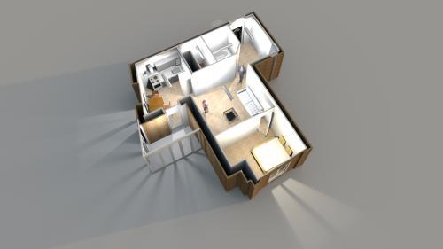 Планировка однокомнатной квартиры 54.66 кв. м. с перегородкой в центре комнаты