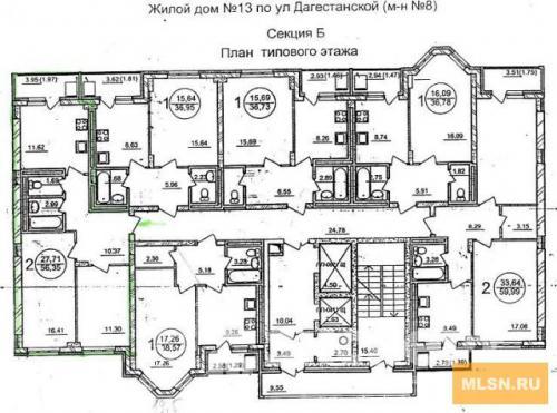 Планировка дома секция Б